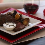 Steak with Roasted Fingerling Potatoes and Creme Fraiche